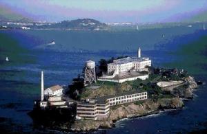Alcatraz, sebuah penjara di Teluk San Francisco, AS.