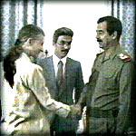Saddam dan Catherine Gaspie, dubes AS untuk Irak.