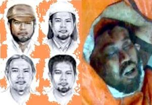 Empat sket wajah Noordin M Top yang diedarkan Polri, dan - kanan -  wajahnya setelah tewas (dari Metro TV).
